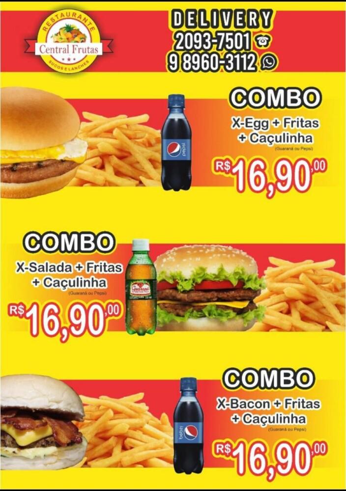 Combos Lanches - Restaurante Central Frutas